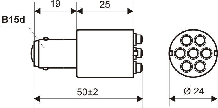Чертеж светодиодной лампы ЛСО 10 с цоколем B15d