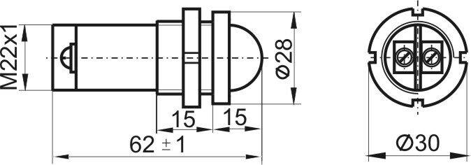 Чертеж светодиодной коммутаторной лампы СКЛ 14 со сферической линзой