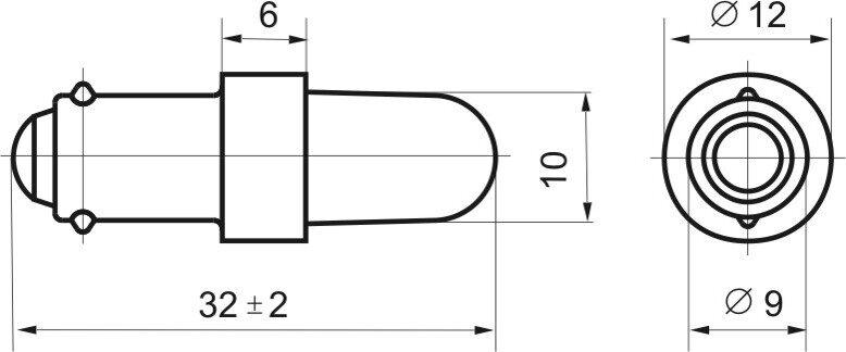 Чертеж светодиодной коммутаторной лампы СКЛ 8